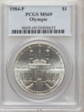 Modern Issues: , 1984-P $1 Olympic Silver Dollar MS69 PCGS. PCGS Population(1883/37). NGC Census: (1342/55). Mintage: 217,000. Numismedia W...