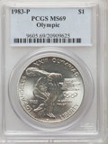 Modern Issues: , 1983-P $1 Olympic Silver Dollar MS69 PCGS. PCGS Population(2347/18). NGC Census: (1646/40). Mintage: 294,543. Numismedia W...