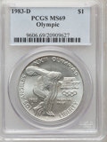 Modern Issues: , 1983-D $1 Olympic Silver Dollar MS69 PCGS. PCGS Population(1688/6). NGC Census: (1202/12). Mintage: 174,014. Numismedia Ws...