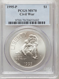 Modern Issues, 1995-P $1 Civil War Silver Dollar MS70 PCGS. PCGS Population (145).NGC Census: (114). Numismedia Wsl. Price for problem f...