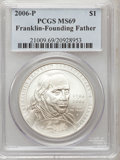 Modern Issues, 2006-P $1 Ben Franklin, Founding Father MS69 PCGS. PCGS Population(2306/671). NGC Census: (1429/6585). Numismedia Wsl. Pr...
