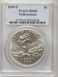 Modern Issues: , 1999-P $1 Yellowstone Silver Dollar MS69 PCGS. PCGS Population(1949/256). NGC Census: (1231/448). Numismedia Wsl. Price f...
