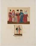 Books:Prints & Leaves, Six Hand-Colored Copper Engravings of Early English Clothing....