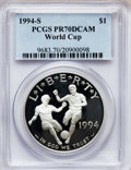 Modern Issues, 1994-S $1 World Cup Silver Dollar PR70 Deep Cameo PCGS. PCGSPopulation (101). NGC Census: (109). Numismedia Wsl. Price f...
