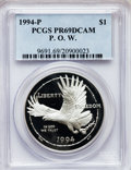 Modern Issues: , 1994-P $1 P.O.W. Silver Dollar PR69 Deep Cameo PCGS. PCGSPopulation (1929/22). NGC Census: (1918/17). Mintage: 220,100.Nu...