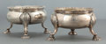 Silver Holloware, British:Holloware, A PAIR OF GEORGE III SILVER AND SILVER GILT SALTS . 1763-1765.Marks: (lion passant), (leopard's head crowned), k, h, (m...(Total: 2 Items)