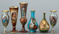 Ceramics & Porcelain, A GROUP OF SIX GERMAN PORCELAIN CABINET VASES . Circa 1900 . Marks: (beehive) GERMANY, RUTH; (crown over RK), DRESDEN,... (Total: 6 Items)
