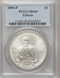 Modern Issues, 2004-P $1 Edison Silver Dollar MS69 PCGS. PCGS Population(2157/615). NGC Census: (1742/801). Numismedia Wsl. Price for pr...