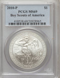 Modern Issues, 2010-P $1 Boy Scouts MS69 PCGS. PCGS Population (2932/2644). NGCCensus: (1645/5514). Numismedia Wsl. Price for problem fr...