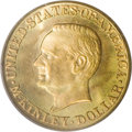 Commemorative Gold: , 1917 G$1 McKinley MS66 PCGS. Peach and lime-gold toning adorns thislustrous and exquisitely struck Premium Gem. The McKinl...