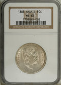 Coins of Hawaii: , 1883 50C Hawaii Half Dollar MS62 NGC. Solidly struck and ratherfrosty with traces of mint-green, gold, and rose over the f...