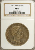 Coins of Hawaii: , 1883 $1 Hawaii Dollar XF45 NGC. Still-lustrous medium gray surfacesexhibit tinges of golden ...