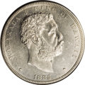 Coins of Hawaii: , 1883 $1 Hawaii Dollar MS61 NGC. The first of four successive MintState Kalakaua dollars in t...