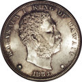 Coins of Hawaii: , 1883 $1 Hawaii Dollar MS63 NGC. Few coins of any type can boast theintensely flashy luster o...