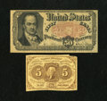 Fractional Currency:Fifth Issue, Two Fractionals.. Fr. 1230 5c First Issue Fine. Fr. 1380 50c FifthIssue Fine.. The Fr. 1230 has a missing margin ne... (Total: 2notes)