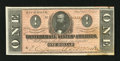 Confederate Notes:1864 Issues, T71 $1 1864. Great color and three large margins are found on this $1 that has a moisture spot along the bottom edge. Cris...
