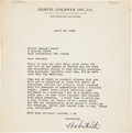 "Autographs:Letters, 1942 Babe Ruth Signed Letter While Filming ""The Pride of theYankees."" PSA/DNA Mint 9...."