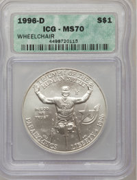 1996-D $1 Olympic/Paralympics Silver Dollar MS70 ICG. NGC Census: (133). PCGS Population (100). Numismedia Wsl. Price fo...