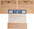 Movie/TV Memorabilia:Memorabilia, A Harry Houdini Group of Sent Telegrams, 1923-1926....