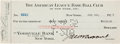 Autographs:Checks, 1925 Urban Shocker Signed New York Yankees Payroll Check....
