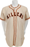 Baseball Collectibles:Uniforms, 1951 Willie Mays Game Worn Minneapolis Millers Jersey with PhotoMatch!...