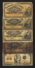 Canadian Currency: , A Quintet of Canadian Fractional Notes. Good or Better.. ...(Total: 5 notes)