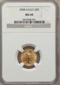 Modern Bullion Coins, 2008 G$5 Gold 1/10 Oz MS69 NGC. NGC Census: (0/0). PCGS Population(225/60). (#393096)...