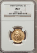 Modern Issues: , 1988-W G$5 Olympic Gold Five Dollar MS70 NGC. NGC Census: (1149).PCGS Population (234). Mintage: 62,900. Numismedia Wsl. P...