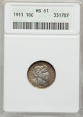 Barber Dimes: , 1911 10C MS61 ANACS. NGC Census: (29/670). PCGS Population(20/806). Mintage: 18,870,544. Numismedia Wsl. Price for problem...