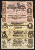 Confederate Notes:Group Lots, Confederate Potpourri Very Good or Better.. ... (Total: 5 notes)