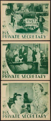 """His Private Secretary (Showmens Pictures, 1933). Lobby Cards (3) (11"""" X 14""""). Comedy. ... (Total: 3 Items)"""