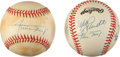 Baseball Collectibles:Others, Willie Mays and 500 Home Run Club Signed Baseballs Lot of 2....