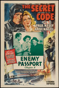 "Movie Posters:Serial, The Secret Code (Columbia, 1942). One Sheet (27"" X 41"") Chapter 1--""Enemy Passport."" Serial.. ..."