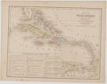 Books:Maps & Atlases, Two Wonderful Engraved and Hand-Colored Maps of the West Indies. From Mitchell's New Intermediate Geography. [Philadelph...
