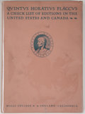 Books:Books about Books, [Horace, subject]. Quintus Horatius Flaccus: Editions in theUnited States and Canada as They Appear in the Union Catalo...
