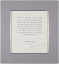 "Autographs:Artists, Marc Chagall Document Signed ""Marc Chagall.""..."