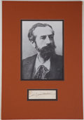 "Autographs:Artists, Frederic August Bartholdi Card Signed ""Bartholdi.""..."