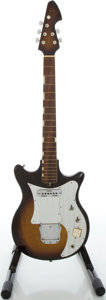 Musical Instruments:Electric Guitars, 1960's Teisco E-120 Sunburst Solid Body Electric Guitar, Serial#152405....