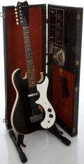Musical Instruments:Electric Guitars, 1960's Silvertone 1448 Amp-in-Case Black Solid Body ElectricGuitar...