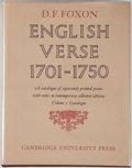 Books:Reference & Bibliography, D. F. Foxon. English Verse 1701-1750: A Catalogue of SeparatelyPrinted Poems with Notes on Contemporary Collected Editi... (Total:2 Items)