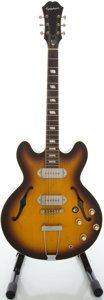 Musical Instruments:Electric Guitars, Recent Epiphone Casino Reissue John Lennon USA Sunburst Semi-HollowBody Electric Guitar, Serial #328393....