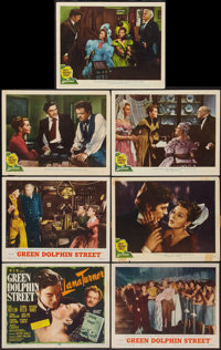 "Green Dolphin Street (MGM, R-1955 & 1947). Title Lobby Card & Lobby Cards (6) (11"" X 14""). Adventure..."
