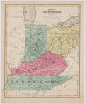 Books:Maps & Atlases, Hand-Colored Map of Indiana, Ohio, Kentucky, and Tennessee. New York: Daniel Burgess, 1853. Measures 11.5 x 9.25 inches. Min...
