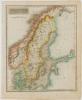 Books:Maps & Atlases, Lovely Engraved Map of Denmark, Sweden and Norway withHand-Coloring. [London: ca. 1820]. Measures 11 x 9 inches. Minortoni...