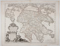 Books:Maps & Atlases, Stunning Engraved Map of Peloponnese, with Hand-Coloring. From Mercurio Geografico. Rome: de Rossi, 1685. 18.75 x 24.25 ...