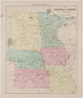 Books:Maps & Atlases, Hand-Colored Map of Minnesota, Iowa, Missouri, Kansas, Nebraska, and Dakota (Before Being Divided). From A Brief Course in...