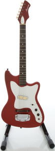 Musical Instruments:Electric Guitars, 1960's Harmony Bobkat Red Solid Body Electric Guitar....