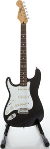 Musical Instruments:Electric Guitars, 1995 Fender Stratocaster MIM Lefty Black Solid Body ElectricGuitar, Serial #MN590136....