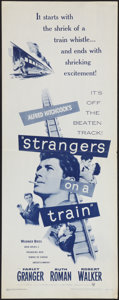 """Movie Posters:Hitchcock, Strangers on a Train (Warner Brothers, R-1957). Insert (14"""" X 36"""").Hitchcock.. ..."""
