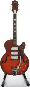 Musical Instruments:Electric Guitars, 1960's Silvertone 1544 Redburst Semi-Hollow Body Electric Guitar...